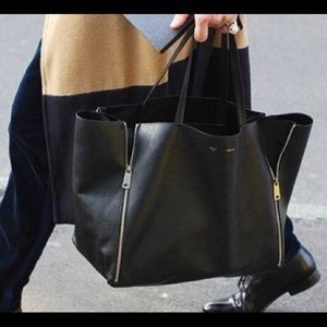 Celine Cabas Black Zipper Tote